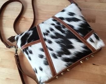 Black and white leather clutch, cowhide purse, wristlet clutch, cow hide handbag, fur clutch, cross body leather bag, wristlets clutch