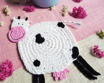 Crochet Cow Coaster - Cow Mug Rug - Animal Coaster - Farmhouse Decor -  Cow Drink Coaster - Country Kitchen Decor - Everyday Gift
