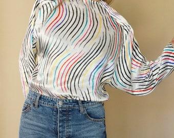 vintage WAVY striped multicolored DOLMAN sateen blouse S-M