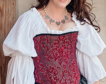 White Cotton Chemise, Steampunk, Victorian, Renaissance, Medieval, Western, Dustpunk, Peasant Blouse, Pirate, Fairy, Shirt