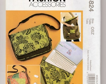 McCalls M5824-Laptop Cover-Computer Carrier-Tote Bag Shoulder Purse-Sewing Pattern-Lined Flap-Pockets-Crafts-Sew A Tote Messenger Bag Gift