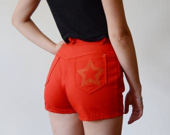 1970s Red High-Waisted Shorts - XXS