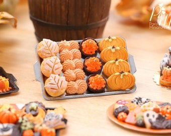 MTOQAutumn Leaf Bread, Meringue, Tartlets and Cookies on Metal Baking Tray - 12th Scale Miniature Food