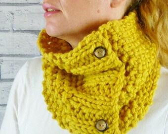 Womens Handknitted Merino Cowl scarf - Yellow