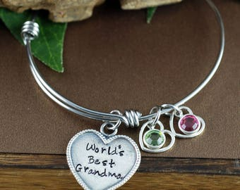 Personalized Grandma Bracelet, World's Best Grandma, Grandma Jewelry with Birthstones, Grandmother Bracelet, Gift for Her, Gift for Grandma