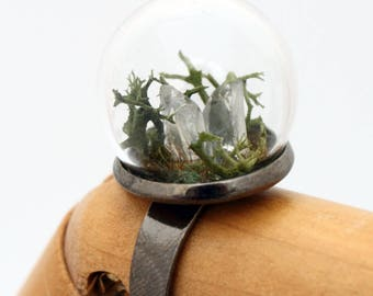 Raw Lemurian seed quartz crystal terrarium ring - glass globe dome ring- reindeer moss - crystal healing - gemstone ring adjustable gunmetal