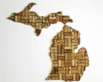 Michigan wall art - cork art - Michigan gifts - cork decor - wine gifts - Michigan wall decor - state art - going away gift - wine decor