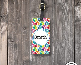 Luggage Tag,  Name or Monogram on Front, Printed Personalization Address on Back Single tag Pink Lily Flower