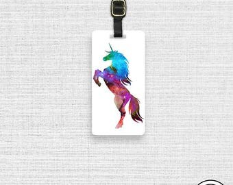 Luggage Tag Rainbow Unicorn Nebula  Personalized Metal Tag, Single Tag   Custom information on Backs