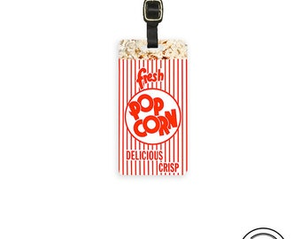 Movie Theater Bag of Popcorn Funny Food Personalized Address Custom Metal Tag Single Tag