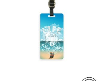 Luggage Tag Life is Better in Flip Flops Metal Luggage Tag With Custom Info On Back, Single Tag