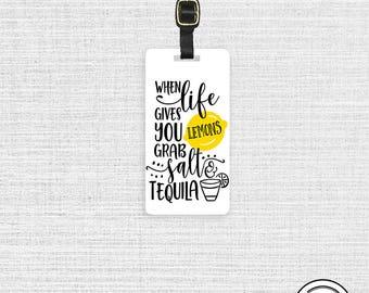 Luggage Tag Life give you Lemons Tequila Metal Luggage Tag  With Printed Custom Info On Back, Single Tag
