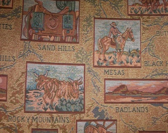 western tapestry fabric print.