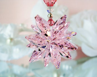Rear View Mirror Charm Pink Swarovski Crystal Car Charm Rearview Mirror Car Accessories