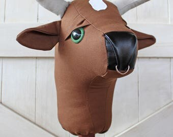 "Stick Bull Rodeo Collection ""Envy"" Ride on Bull Stick Horse Toy Bovine Cow Ready to Ship"