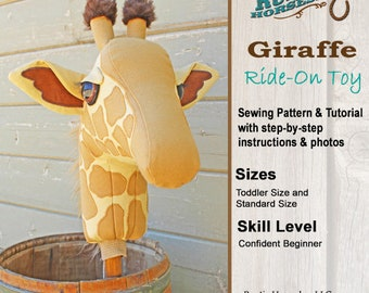Giraffe Ride On Toy Stick Horse Sewing Pattern and Tutorial Giraffe Hobby Horse Instructions DIY
