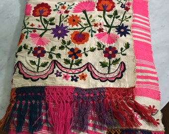 Vintage Mid Century South Central American Banded Weaving Coverlet Throw