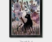 Cat Print - Interactions. Cat, Cats, Cat Art, Cat Lover, Cat Gift, Boho, Garden, Garden Art, Cat Lady, Bird Art, Seattle, Oregon, Washington