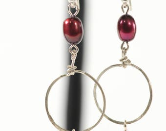 Handmade SOLID STERLING Artisan Designed Burgundy Fresh Water PEARL and Hand Hammered Wire Wrap Hoop Dangle Earrings