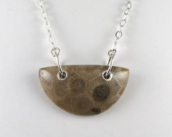 Michigan Petoskey stone pendant necklace with sterling silver N2027