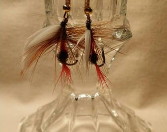 Red, Brown & White Fly Fishing Earrings