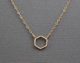 choker necklace, dainty choker, gold choker, tiny hexagon choker, tiny gold necklace, sterling silver, mixed metals choker, feminine