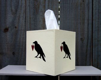 Tissue Box Cover, Crow, Small Tissue Cover, Rustic, Primitive, Tissue Cover, Painted, Boutique Size, Home Decor, Hand Painted, Tissues