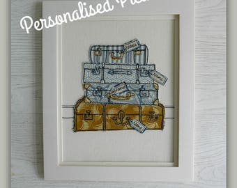 Vintage Family Suitcases Freehand Machine Embroidery Personalised Picture. Custom made in any colours with name tags. Large A4 size
