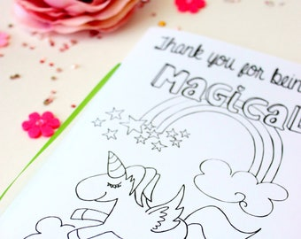 Unicorn Birthday Party - unicorn party favors - Unicorn coloring book - Birthday Party Favor - Birthday Activity Book - Unicorn Baby Shower