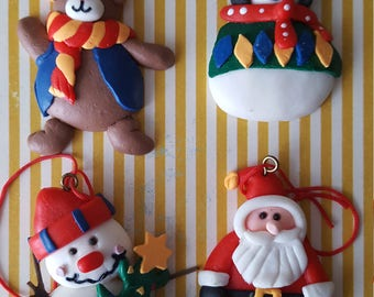 Set of 4 Polymer Clay Christmas Ornaments