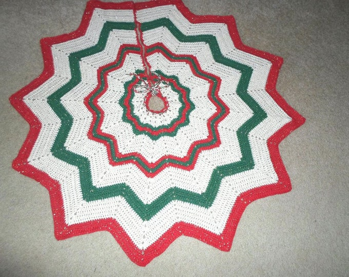 Crocheted Christmas Tree Skirt in Red, Green and Cream with Gold Metal Thread