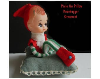 Pixie Kneehugger Ornament * Elf On Cushion * Pixie Knee Hugger Doll * Japan
