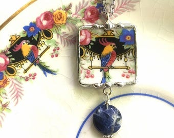 Broken china jewelry, pendant necklace, Art Deco parrot, cockatoo, antique china, blue sodalite gemstone bead