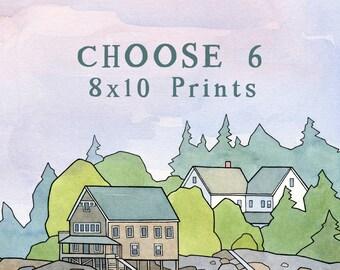 "Choose Six 8x10"" Prints, animal nursery art set"