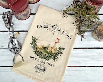 Flour Sack Towel, Farmhouse Dish Towel, Flour Sack Dish Towel, Flour Sack Kitchen Towel, Tea Towels Flour Sack, Tea Towels, Farm Fresh Eggs
