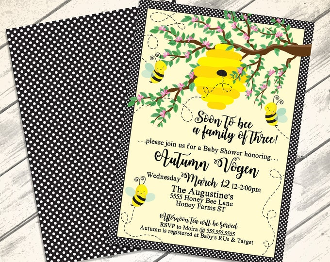 Bee Shower Invitation - Soon to Bee a Family of 3, Bee Shower, Our little Honey, Mommy to Bee | DIY Editable Text INSTANT DOWNLOAD Printable