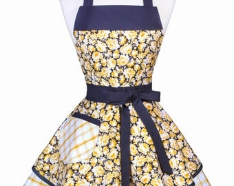 Womens Ruffled Retro Apron - Yellow and Gray Rose Floral Womans Vintage Style Flirty Pinup Kitchen Apron to Personalize or Monogram (DP)