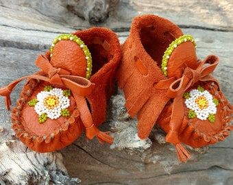 "Baby Moccasins By Desi, Beaded Flower, Burnt Orange Leather, Girl, 3 3/4"" long, Shoes, Tribal, First Thanksgiving Outfit Fall Autumn Pumpkin"