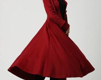 long winter coat, red coat, maxi coat, wool coat, Dress coat, swing coat, princess coat, womens coats, ladies coats, Mod clothing, Gift 1104