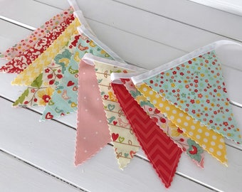 Banner Bunting Fabric Flags Baby Girl Nursery Decor Pink Photo Prop Pink Party Decor Floral Flowers Birds Pink Red The Sweetest Thing