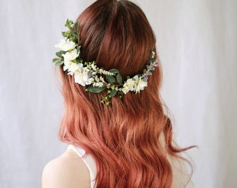 Floral Wedding Hair Vine, Flower Crown, Woodland Wedding Headpiece, Bridal Vine, Wildflower Hair Wreath, Ivory Flower Comb, Hair Accessory