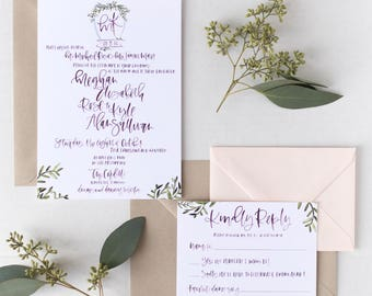 The Meghan - Wine Watercolor Calligraphy Wedding Invitation Suite with Custom Crest