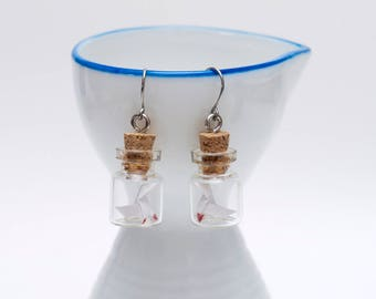 Origami heavy rain in tiny glass bottle earrings