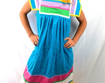 Vintage Saybury Cotton 70s 80s Mumu Dress