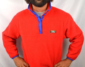 Vintage 80s LL Bean Red Fleece Pullover Jacket