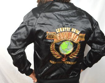 Vintage 90s Black Satin Bomber Jacket - Country Music Fan Fair - 1992 - Nashville Tennessee