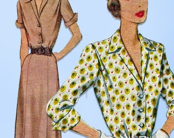 1940s Vintage McCall Sewing Pattern 7603 Plus Size Shirtwaist Dress Size 42 Bust