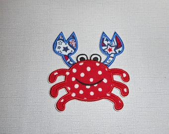 Free Shipping Ready TO Ship Fourth  Crab Machine Embroidery   iron on applique