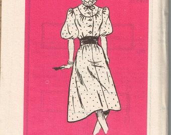 80s Plus Sized High Necked Dress Pattern Anne Adams Bust 42 Button Up Ruffle Neck Elastic Waist Feminine Dress Vintage 1982 Sewing Pattern