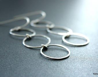 Long Hoop Earrings , Sterling Silver Hoop Earrings , Statement Earrings , Christmas Gift